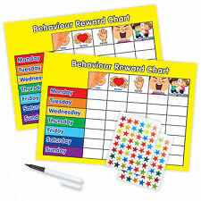 BEHAVIOUR REWARD TRAINING REWARD CHART WITH PEN & STAR STICKERS - Twin Yellow
