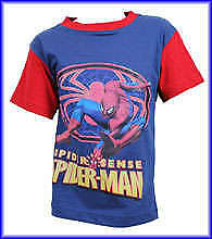 BOYS SPIDERMAN T/SHIRT RED or NAVY  - AGES 3/4 - 5/6  - 7/8 YRS Great for the ho