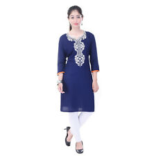 Imago Women's Embroidered Rayon Blue Round Neck 3/4th Sleeve Kurti (VC019BLUE)