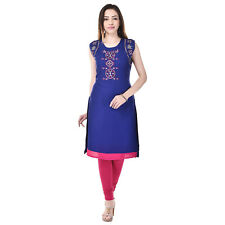 Imago Women's Embroidered Rayon Blue Round Neck Sleeveless Kurti (VC021BLUE)