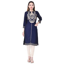 Imago Women's Embroidered Rayon Long Blue Collar 3/4 Sleeve Kurti (VC023BLUE)