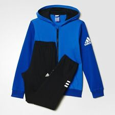 adidas boys blue / black hooded zip up tracksuit. Jogging suit. Ages 7-14 years.