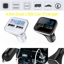 Car Charger Dual USB Adapter Cigarette Lighter LCD For iPad Tablet HTC LG iPhone