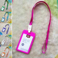 Coloured ID Card Holder Work Credit Card Document Wallet Lanyard Travel Medical