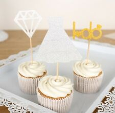 3 X Gold Diamond I DO Cupcake Toppers Wrapper Wedding Party Decoration Engagemen