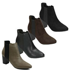 WOMENS LADIES CASUAL BLOCK HEEL CHELSEA STYLE ANKLE BOOTS BOOTIES SHOES SIZE 3-8