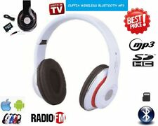 CUFFIA WIRELESS BLUETOOTH CON LED MP3 MICRO SD RADIO FM AURICOLARE CUFFIA  DJ