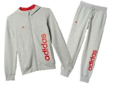 adidas girls grey zip up hooded tracksuit. Various sizes!