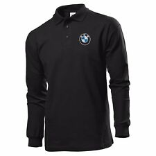 POLO T-SHIRT LONG SLEEVE BLACK MANICA LUNGA EMBROIDERY PATCH BMW LOGO