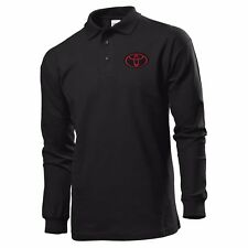 POLO T-SHIRT LONG SLEEVE BLACK MANICA LUNGA EMBROIDERY PATCH TOYOTA LOGO
