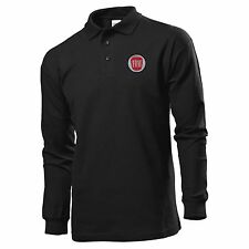 POLO T-SHIRT LONG SLEEVE BLACK MANICA LUNGA EMBROIDERY PATCH FIAT LOGO