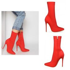 Womens Ladies Lycra Stretch High Stiletto Heel Pointed Toe Red Ankle Boots Shoes