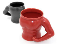 Ceramic Muscle Body Mug Coffee Tea Cup Gym Gift Black Red Bicep Kitchenware