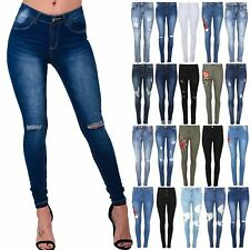 Womens Ladies Destroyed Knee Cut Out Ripped Embroidered Skinny Fit Denim Jeans