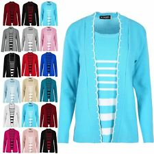 Ladies Womens Knitted Long Sleeves Open Front Top Stripes Twin Cardigan Jumper