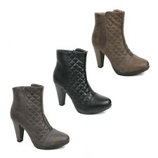 WOMENS LADIES CHELSEA BIKER STYLE QUILTED BLOCK HEEL ANKLE BOOTS SHOES SIZE 3-8