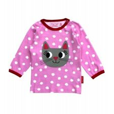 Toby Tiger Girls Cat Applique Top. 100% Organic Cotton.pink.0-6 Years