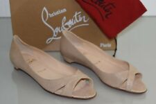 NEW Christian Louboutin UN VOILIER Flats Peep Toe Taupe Beige LIZARD Shoes 40