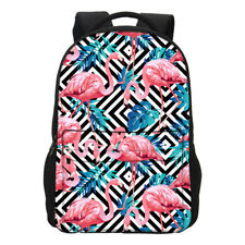 Flamingo Print Travel Backpack with Front Pocket Girl School Daily Shoulder Bag