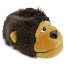 KIDS UNISEX PLUSH NOVELTY 3D GORILLA HEAD SLIPPERS FAUX FUR XMAS UK 9-3 NEW