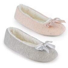 LADIES DIAMOND JERSEY MARL BALLET SLIPPERS WITH RIBBON BOW XMAS GIFT UK 3-8 NEW