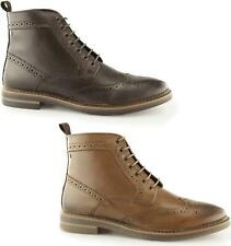 Base London HURST Mens Waxy Leather Lace Up Wingtip Brogue Derby Ankle Boots