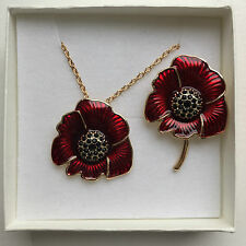 Beautiful enamel and crystal poppy sets