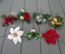 6 x Artificial Christmas Picks -Red / Gold / Silver / Berry / Poinsettia / Holly