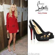 NEW Christian Louboutin VERY CROISE 140 Crepe Satin Black Platform Shoes 40.5 41