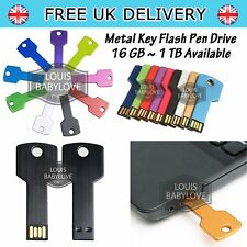Flash Drive Pen USB 2.0 16/64/128 GB 1TB Metal Key Shape Memory Storage Stick UK