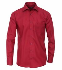 Casamoda Camisa Bordeaux Rojo Liso Manga Larga Confort FIT Normal Corte