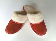 Womens/Ladies Slippers Wool and Leather Suede Sheepskin Red Shoes Size UK 4-8