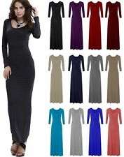 New Womens Ladies Long Sleeve Plain Stretchy Flared Long Maxi Dress Plus Size