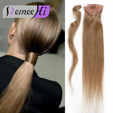 8A Human Hair Ponytail Wrap Around Hairpiece Long Hair Extensions Straight Hair