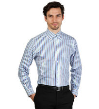 Brooks Brothers - Camisa slim fit color blanco a rayas azules bicolor