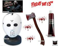 Jason Voorhees Fancy Dress Costume Mask Giant Axe & Blood Friday 13th Halloween
