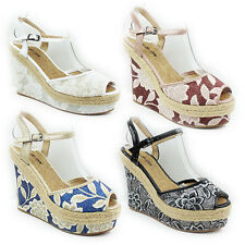 WOMENS LADIES PLATFORM FLORAL WEDGE HEEL PEEP TOE ANKLE STRAP SANDALS SIZE 3-7