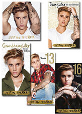 Justin Bieber Birthday Cards, Relation Cards & Age Cards FREE 1ST CLASS POSTAGE