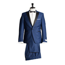 WILVORST COMPLETO SMOKING GIACCA SMOKING pantaloni blu notte DROP8 Mix di lana