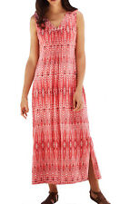 UK Size 12 up to Plus Size 38 Ladies Crinkle Sleeveless Coral Maxi long Dress