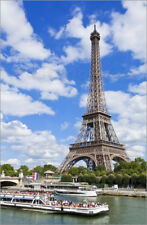 Poster Tour boat on River Seine with Eiffel Tower - Neale Clarke