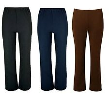Ladies Women's Finely Ribbed Bootleg Stretch Trousers Pants Size 10-24