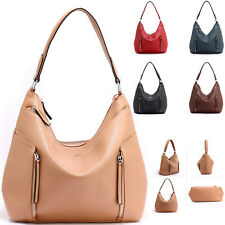 grande Ladies faux leather mujer asa doble bolsa de Hombro Bolso Hobo