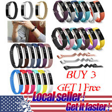 Sport Silicone+Stainless Milanese Wrist Strap Watch Band For Fitbit Alta  Xi