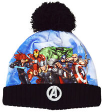 Marvel Avengers Hat Boys Thermal Winter Bobble Hat Iron Man Thor Captain America