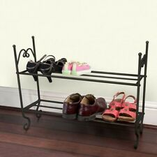 shabby chic vintage style black and cream 2 tier metal shoe rack storage new