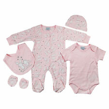 5 Piece Baby Girls Clothing Outfit Layette Gift Set in Pink White Rabbits NB-3-6