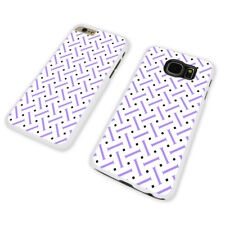 PURPLE GEOMETRIC PATTERN WHITE PHONE CASE COVER fits iPHONE / SAMSUNG (WH)