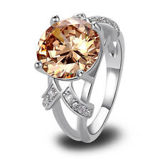 Ladies Ring -Champagne Morganite -925 Silver Ring-Ideal for Weddings-Parties