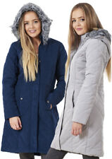 Ladies Winter Quilted Parka Warm Jacket Outerwear Fur Hooded Coat